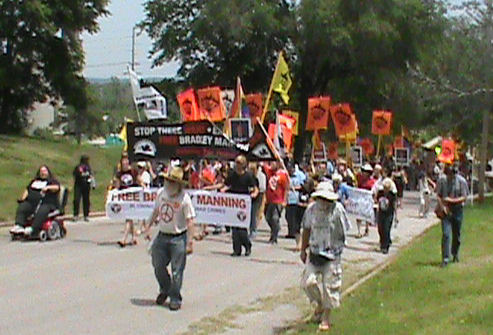 Front of the Free Bradley Manning March in Leavenworth, Kansas.