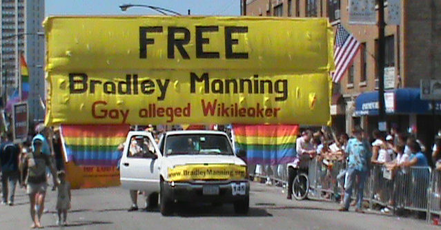 160 square foot Free Bradley Manning banner encompasses entire width and height of parade route.
