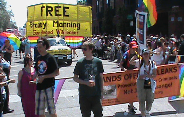 HANDS OFF WIKILEAKS - FREE Bradley Manning - Chicago Pride Parade 2011.