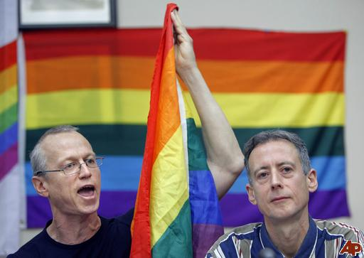Chicago Gay Liberation Network activist Andy Thayer, left, and Britain's gay rights activist Peter Tatchell